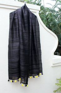 Black Tussar Gicha Silk Handwoven Dupatta With Tassels