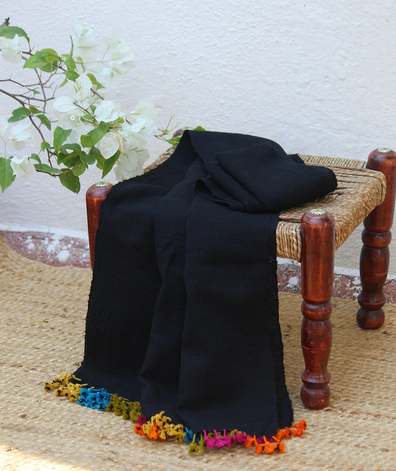 Black Wool and Silk Handwoven Stole