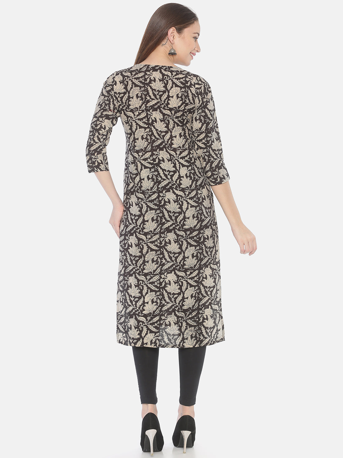 Black Bagru Hand Block Printed Naturally Dyed Pure Cotton Kurti