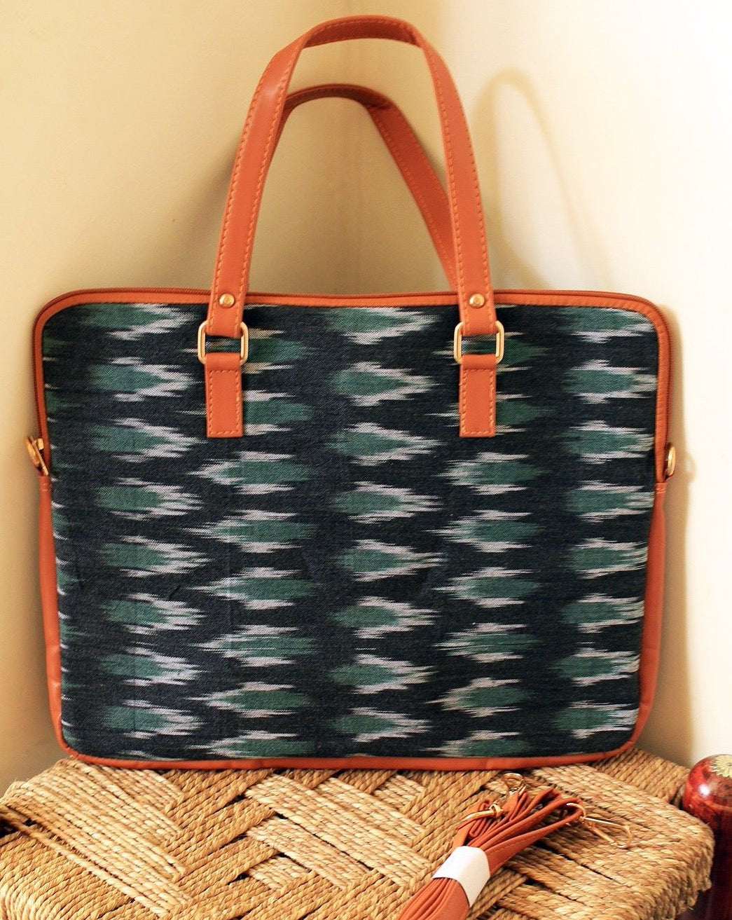 Black and Green Handloom Ikkat Cotton Laptop Bag with Adjustable Belt