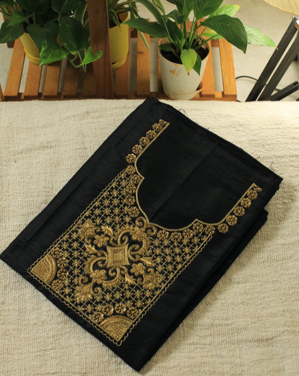 Black Hand Embroidered Handloom Raw Silk Fabric for Kurti