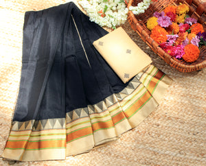 Black Handloom Ilkal Cotton Silk Saree with Beige Pure Cotton Jacquard Blouse Piece
