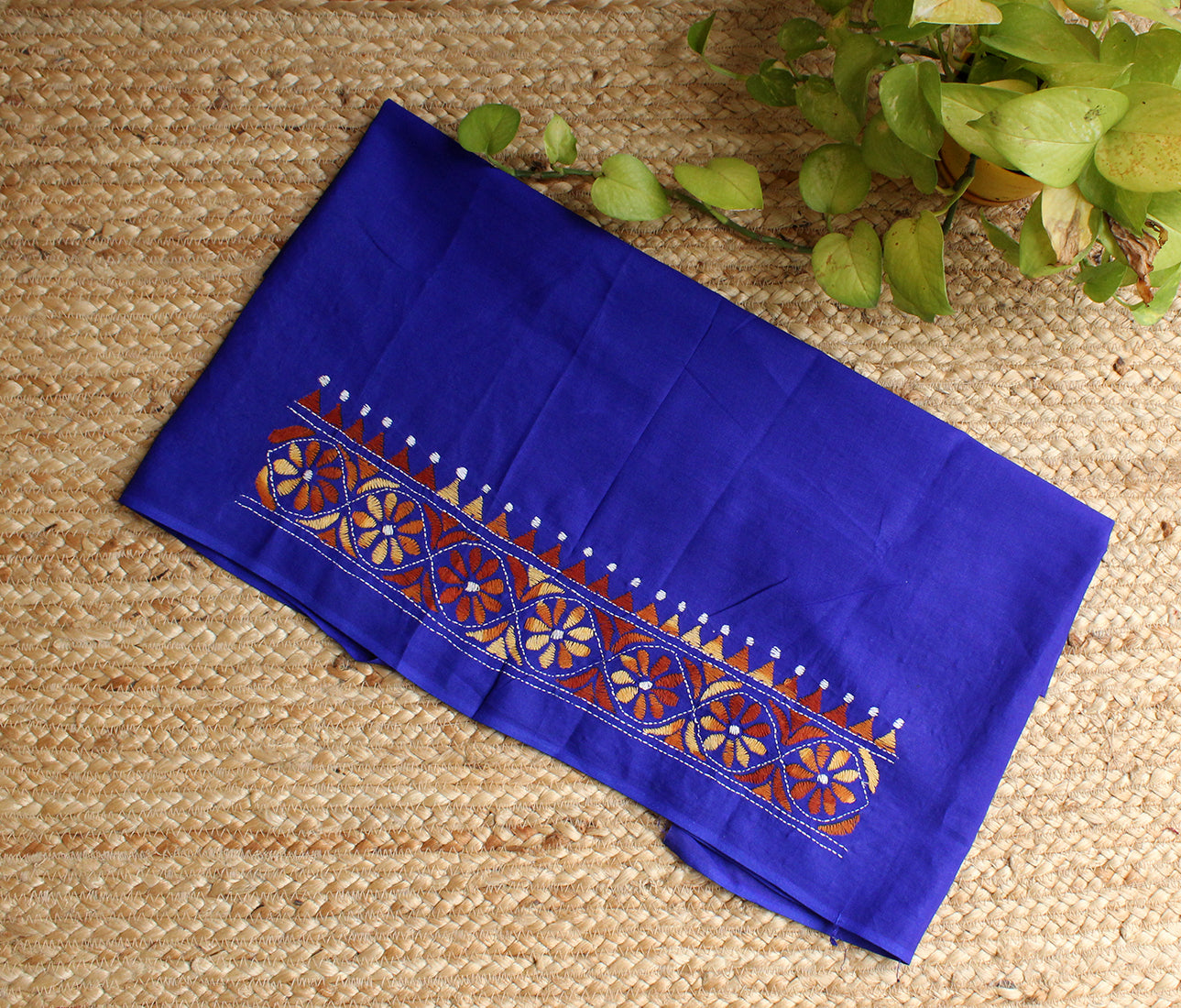 Blue Kantha Hand Embroidered Cotton Blouse Piece