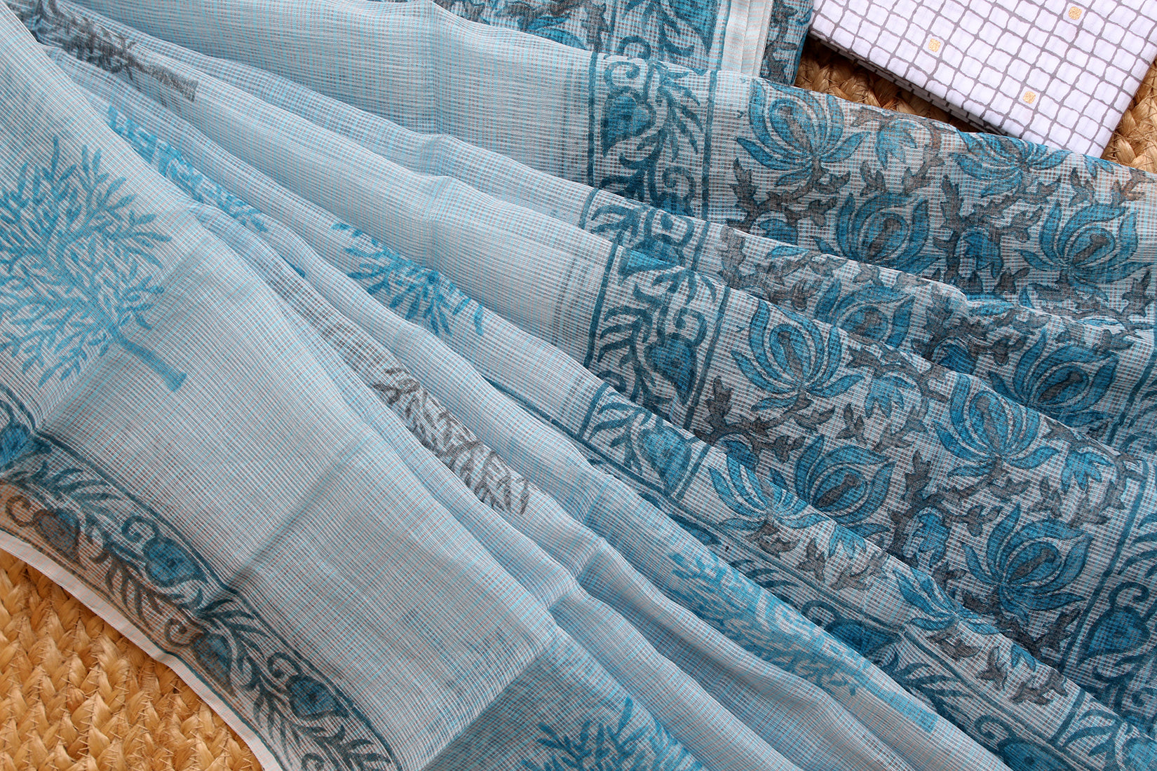 Pastel Blue Hand Block Printed Kota Doria Blended Cotton Dress Material