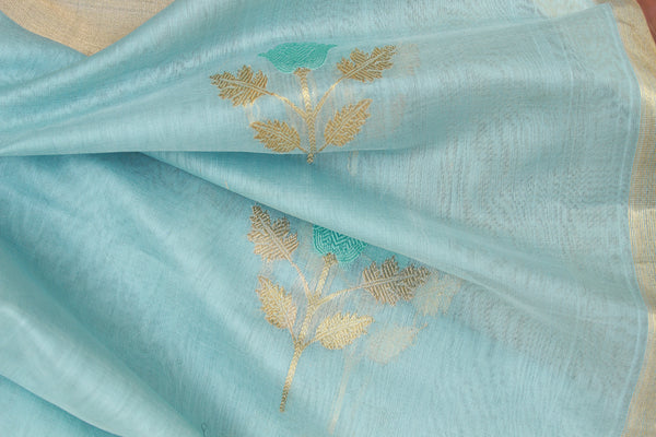 Pastel Blue Chanderi Handloom Cotton Silk Dupatta with Flower Motifs