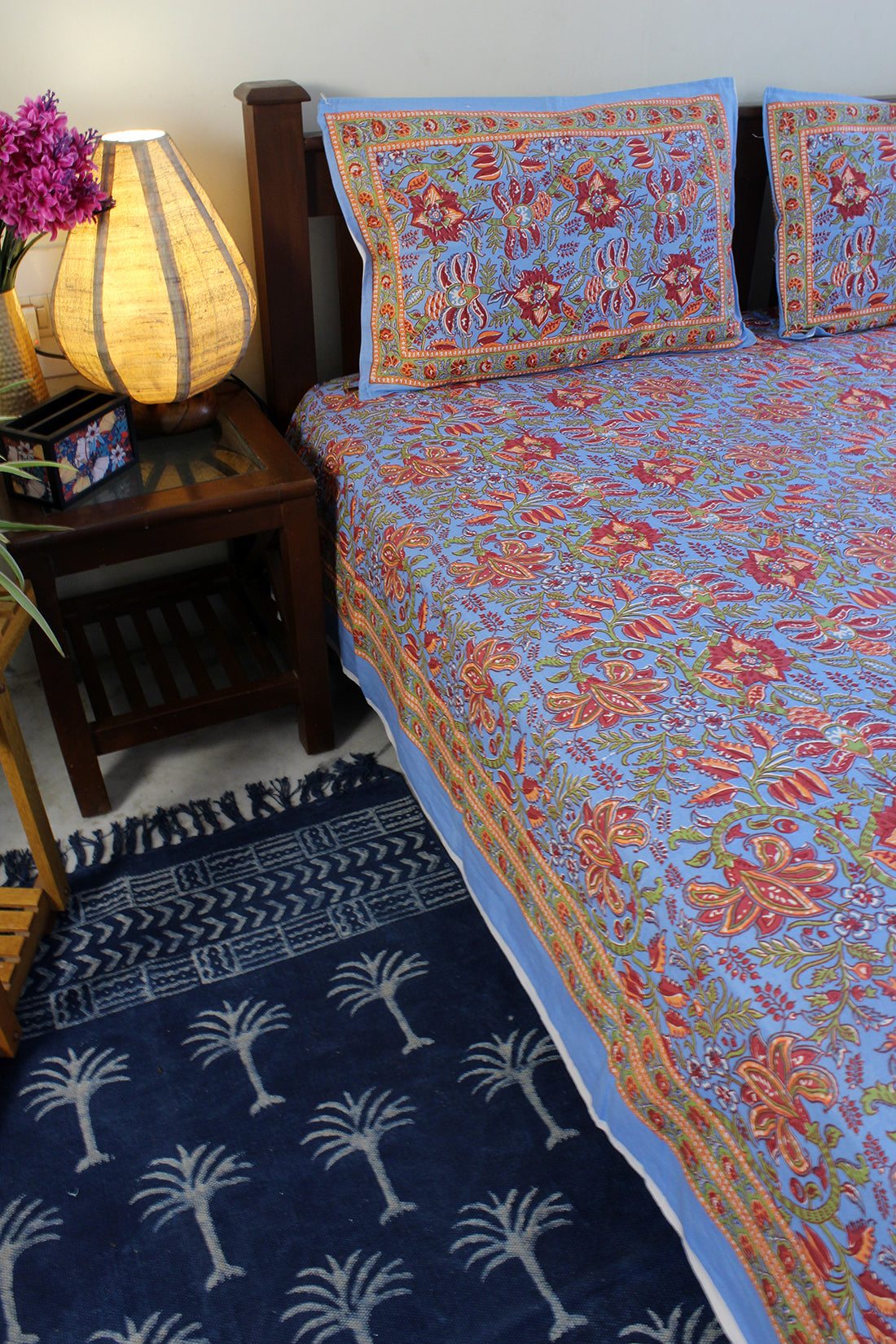 Blue Hand Block Printed Pure Cotton King Size Bedsheet with Pillow Covers