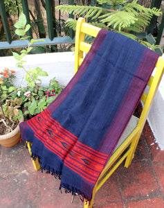 Blue and Black Handloom Kinnauri Woollen Shawl