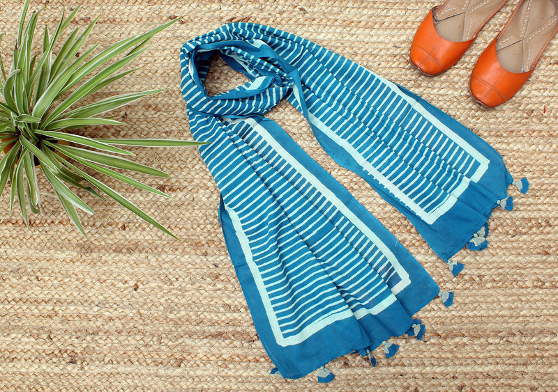 Blue Naturally Dyed Hand Block Printed Stripes Mul Cotton Stole