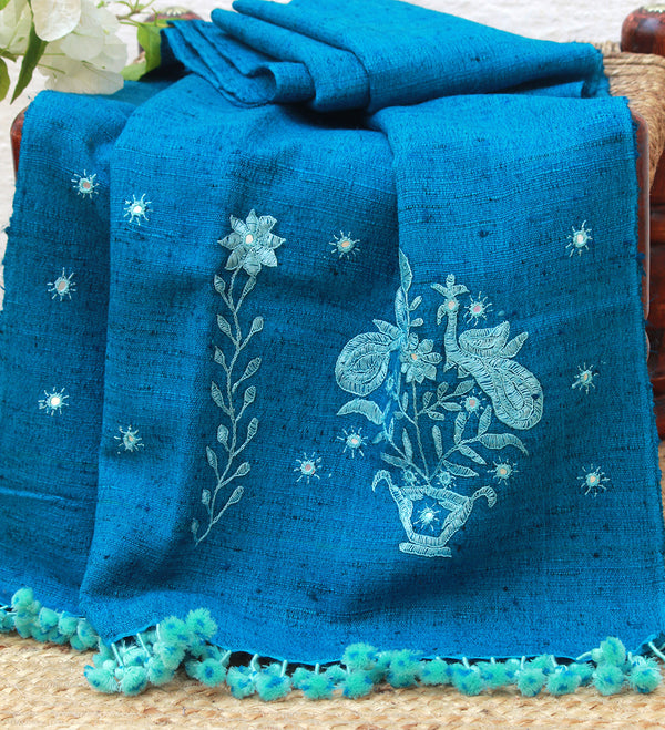 Blue Wool and Silk Hand Embroidered Bhujodi Stole