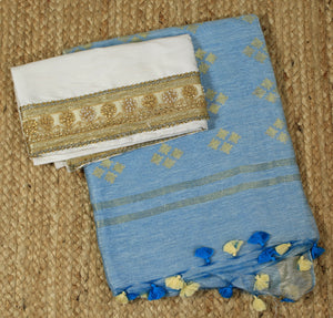 Blue Tussar Linen Handloom Saree with White Handloom Raw Silk Blouse Piece