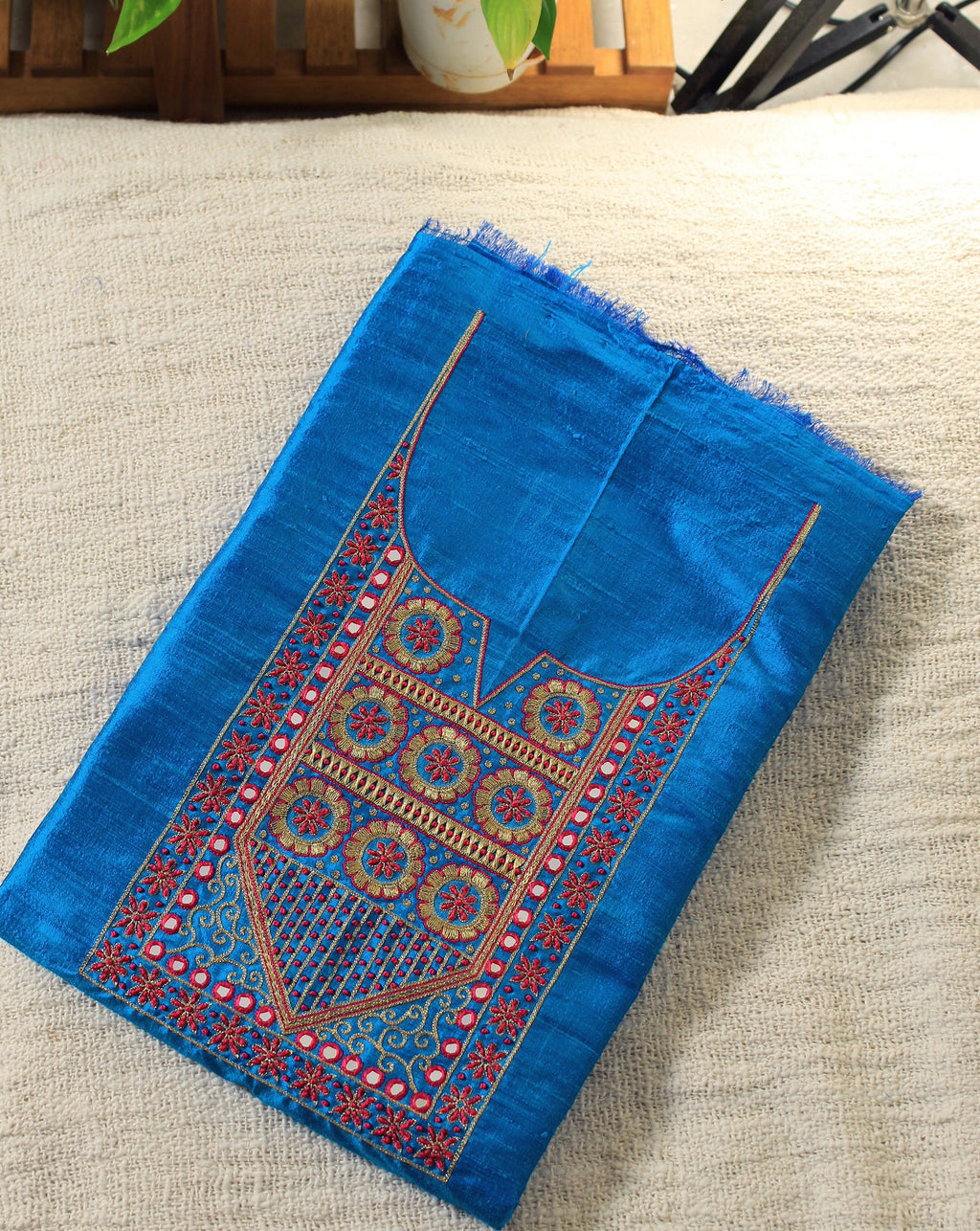 Blue Hand Embroidered Handloom Raw Silk Fabric for Kurti