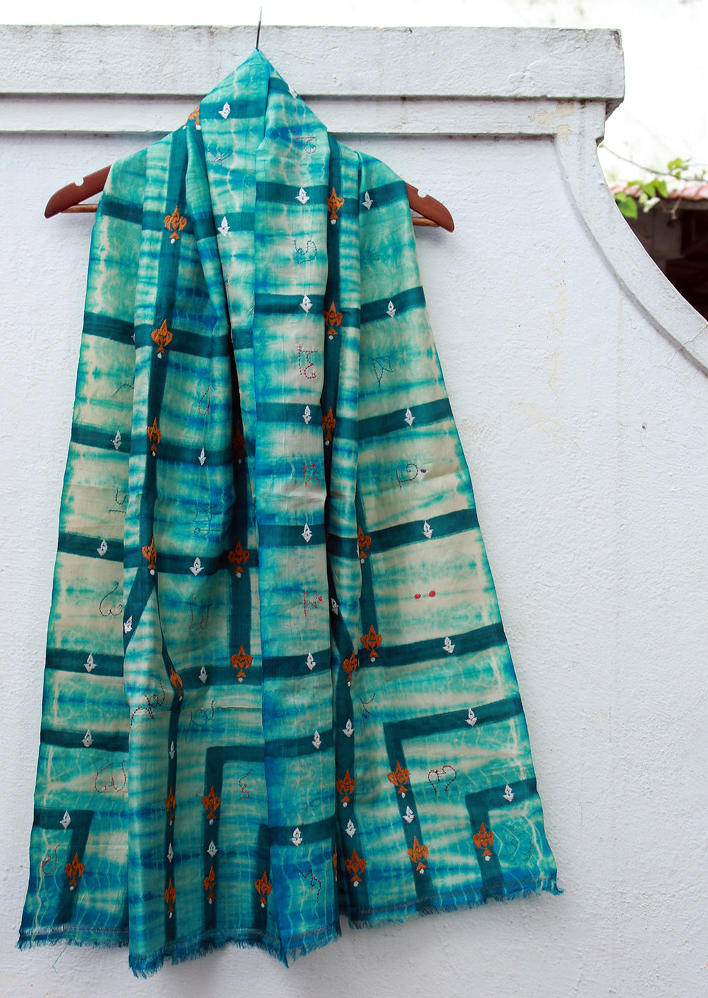 Sea Green Handloom Pure Silk Stole with Shibori Tie and Dye and Kantha Work