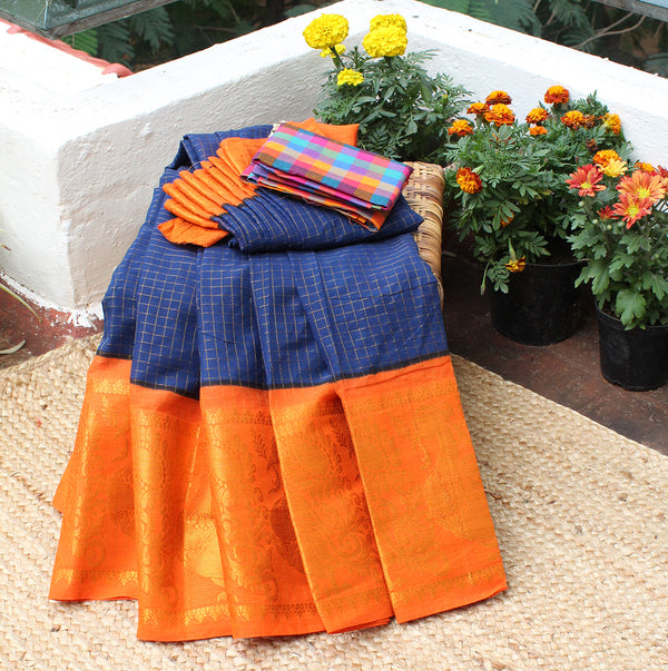 Blue and Orange Handcrafted Madurai Sungudi Checkered Cotton Saree with Multi-coloured Checkered South Cotton Blouse Piece
