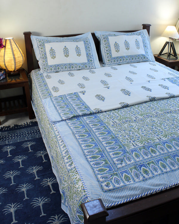 White and Blue Hand Block Printed Mul Mul Cotton Reversible Single Dohar