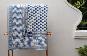 White and Blue Hand Block Printed Pure Cotton Reversible Double Quilt