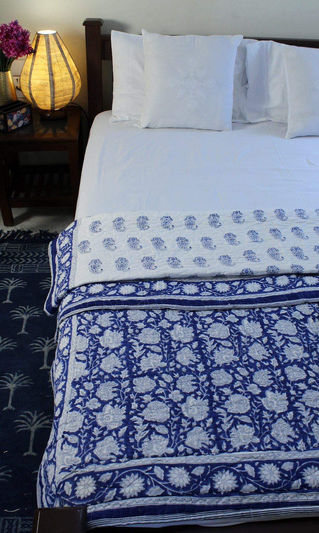 White Hand Block Printed Mul Mul Cotton Reversible Single Quilt