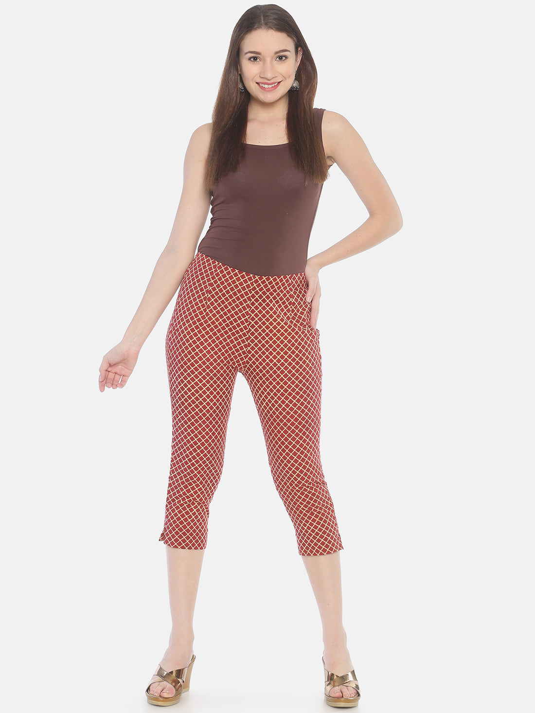 Brown Naturally Dyed Cotton Hand Block Printed Cropped Cigarette Pants