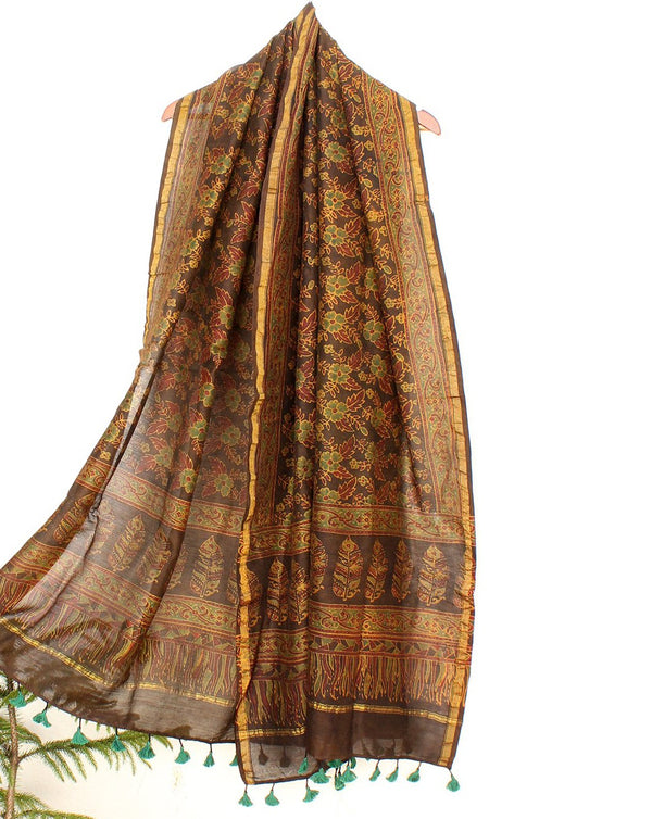 Brown Chanderi Cotton Silk Hand Block Printed Ajrakh Dupatta