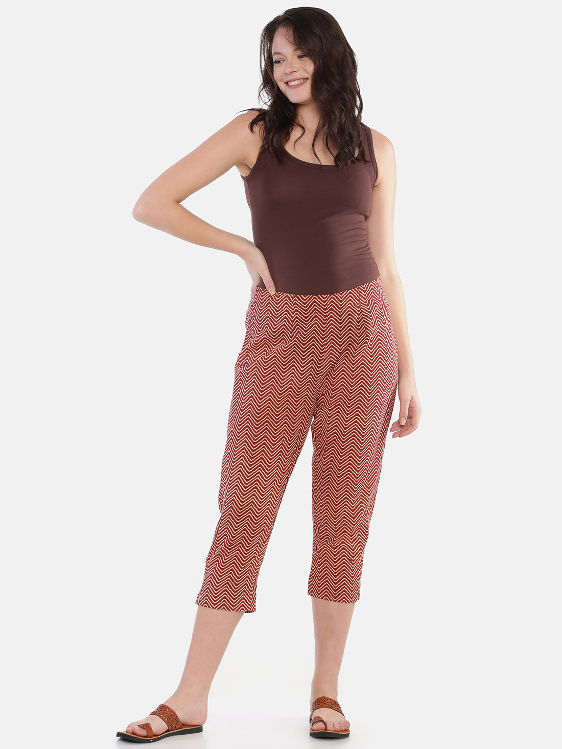 Brown Naturally Dyed Cotton Chevron Hand Block Printed Cropped Cigarette Pants