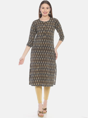Brown Ajrakh Hand Block Printed Naturally Dyed Pure Cotton Kurti