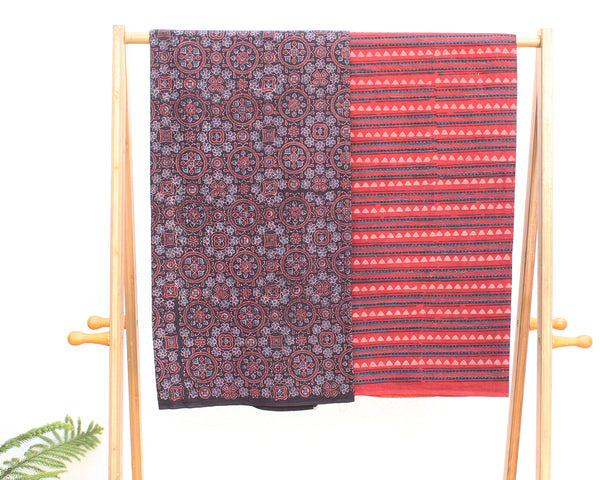 Brown and Red Naturally Dyed Ajrakh Hand Block Printed Cotton Dress Material