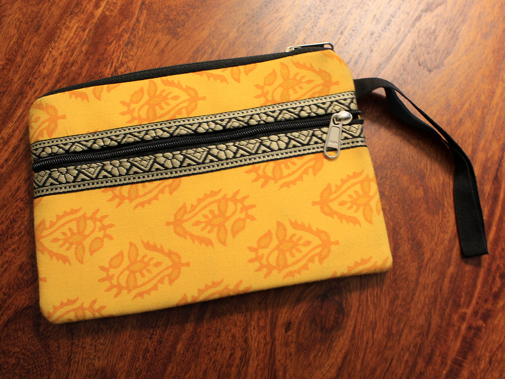 Yellow Hand Block Printed Cash/Card Pouch