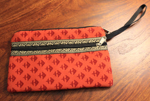 Orange Hand Block Printed Cash/Card Pouch
