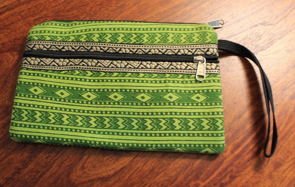 Green Hand Block Printed Cash/Card Pouch