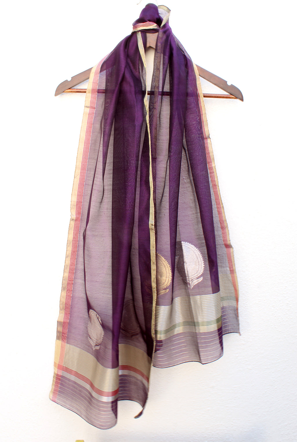 Purple Chanderi Handloom Cotton Silk Stole