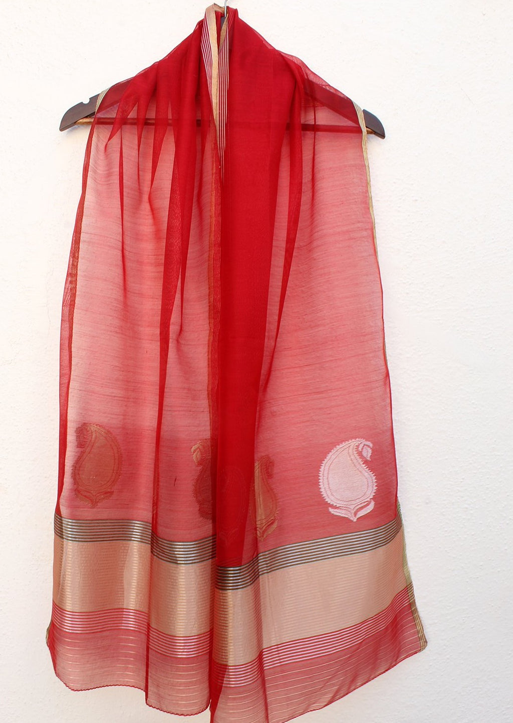 Red Chanderi Handloom Cotton Silk Stole