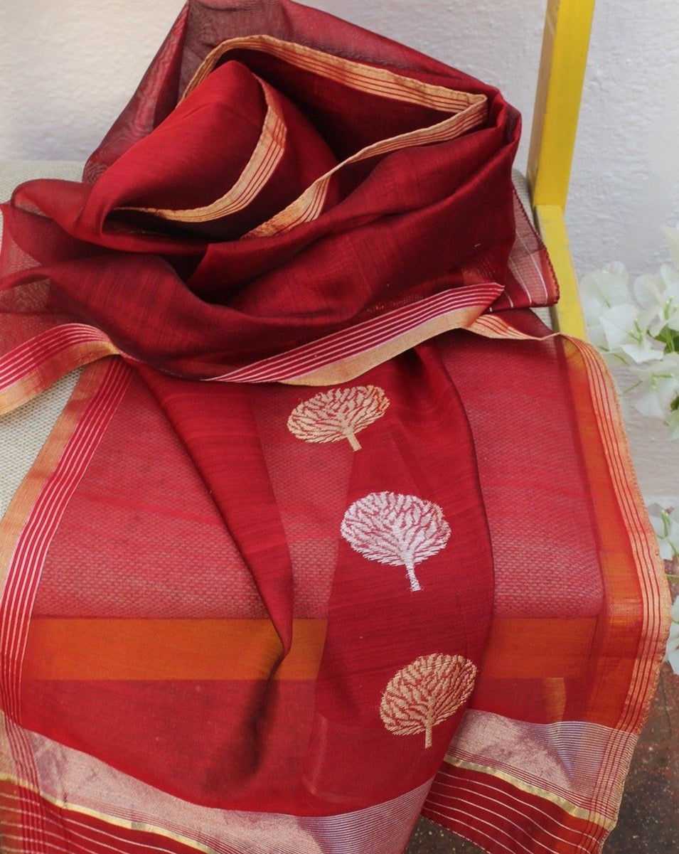 Maroon Chanderi Handloom Cotton Silk Stole