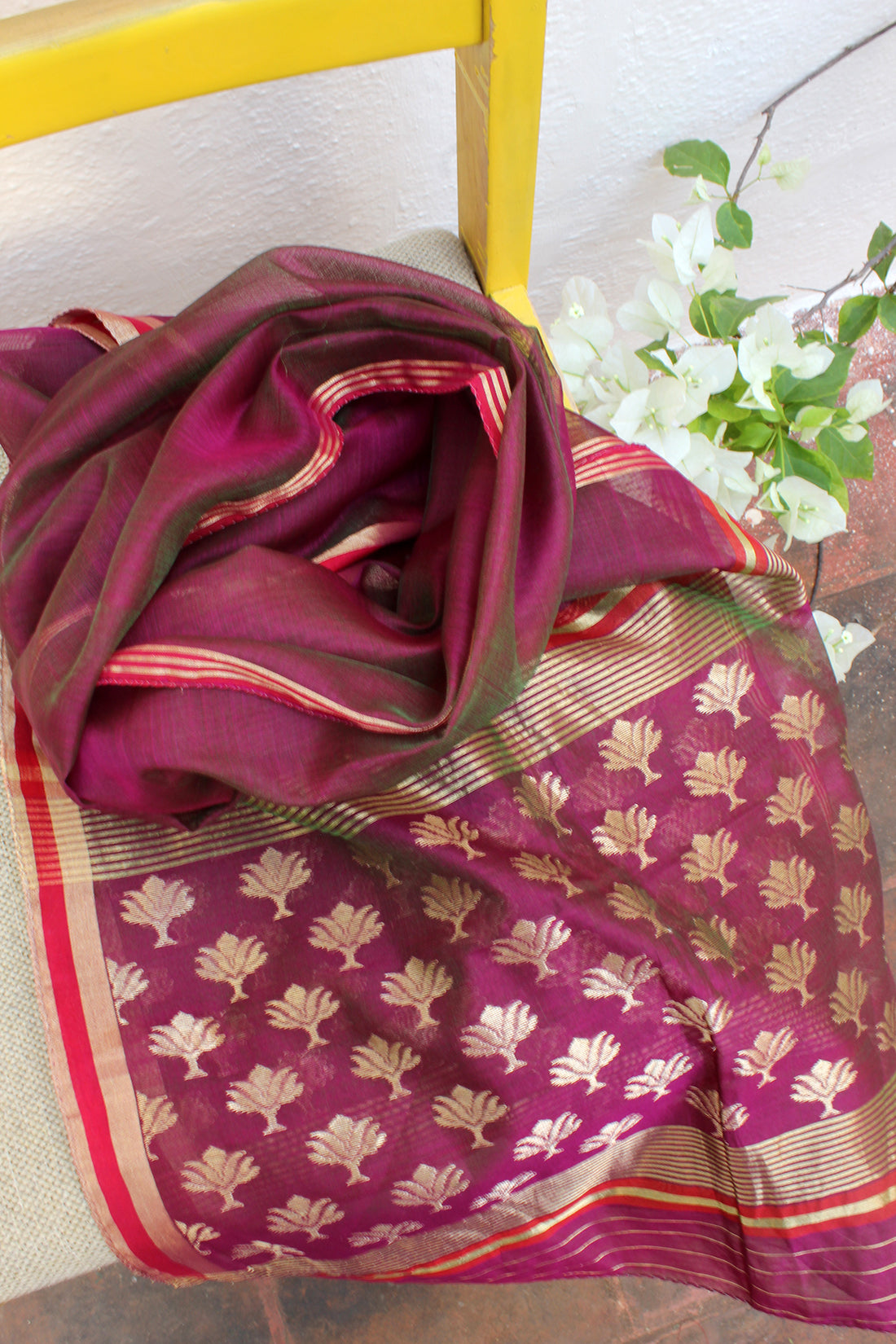 Purple and Green Dual Toned Chanderi Handloom Cotton Silk Stole
