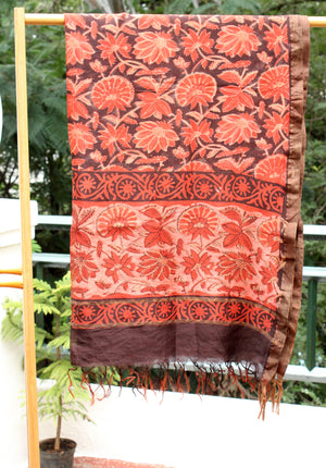 Madder and Black Chanderi Hand Block Printed Dress Material