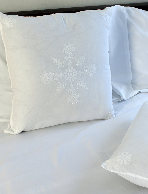 White Pure Cotton Hand Embroidered Chikankari Cushion Cover (18 x 18 inches)