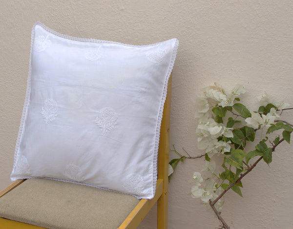 White Chikankari Hand Embroidered Cushion Cover (18 inches x 18 inches)