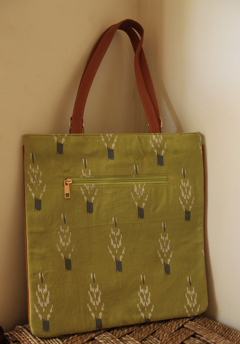 Chutney Green Ikkat Cotton Slim Tote Bag with Zipper Pouch