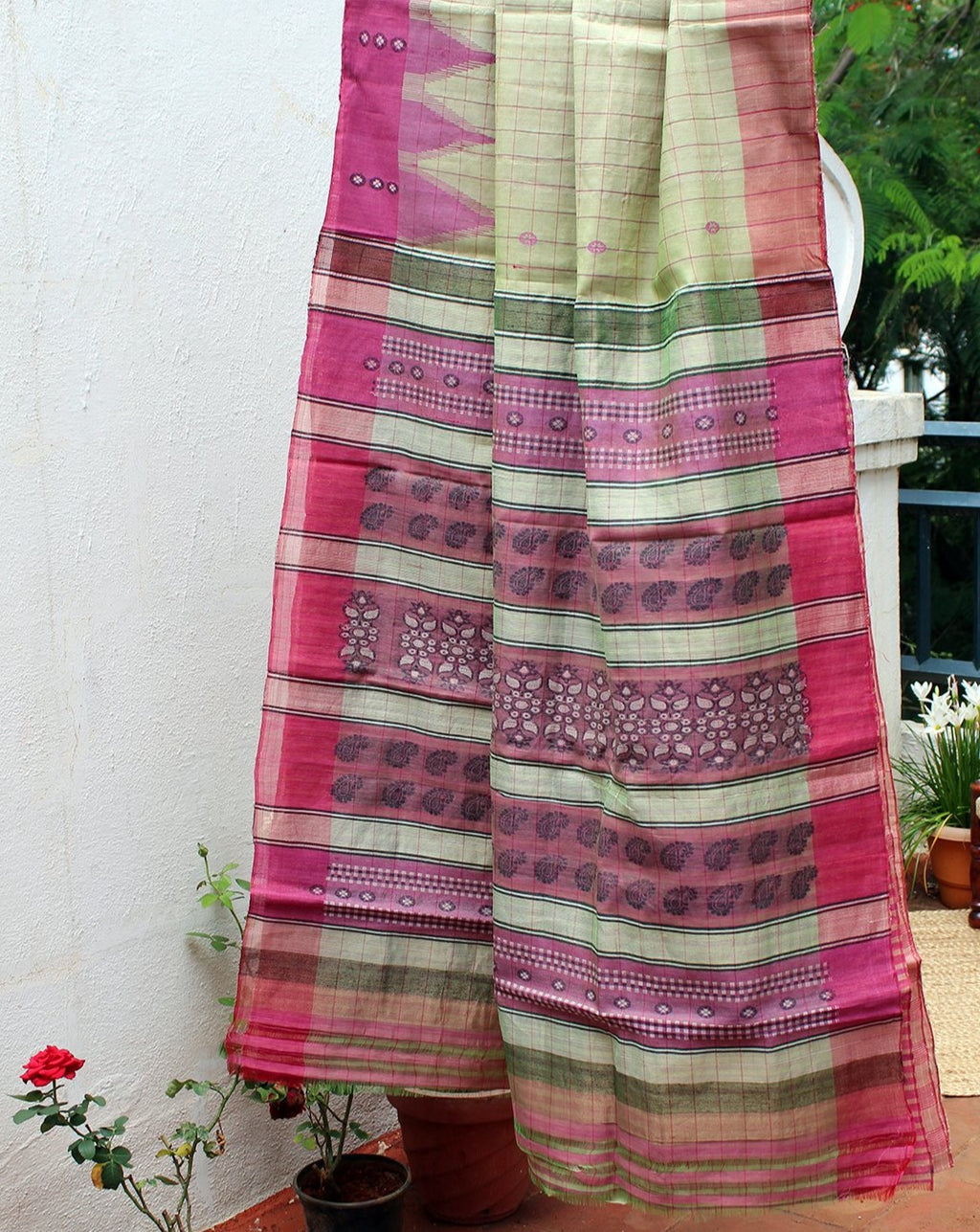 Greenish Beige Kosa Silk Handloom Saree with Contrast Pink Checks