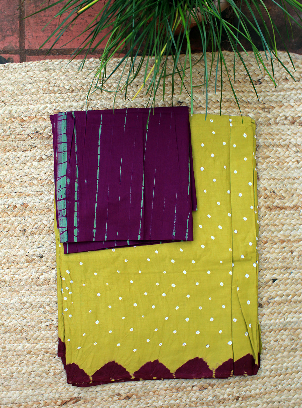 Chutney Green and Purple Handcrafted Tie and Dye Bandhej Pure Cotton Saree