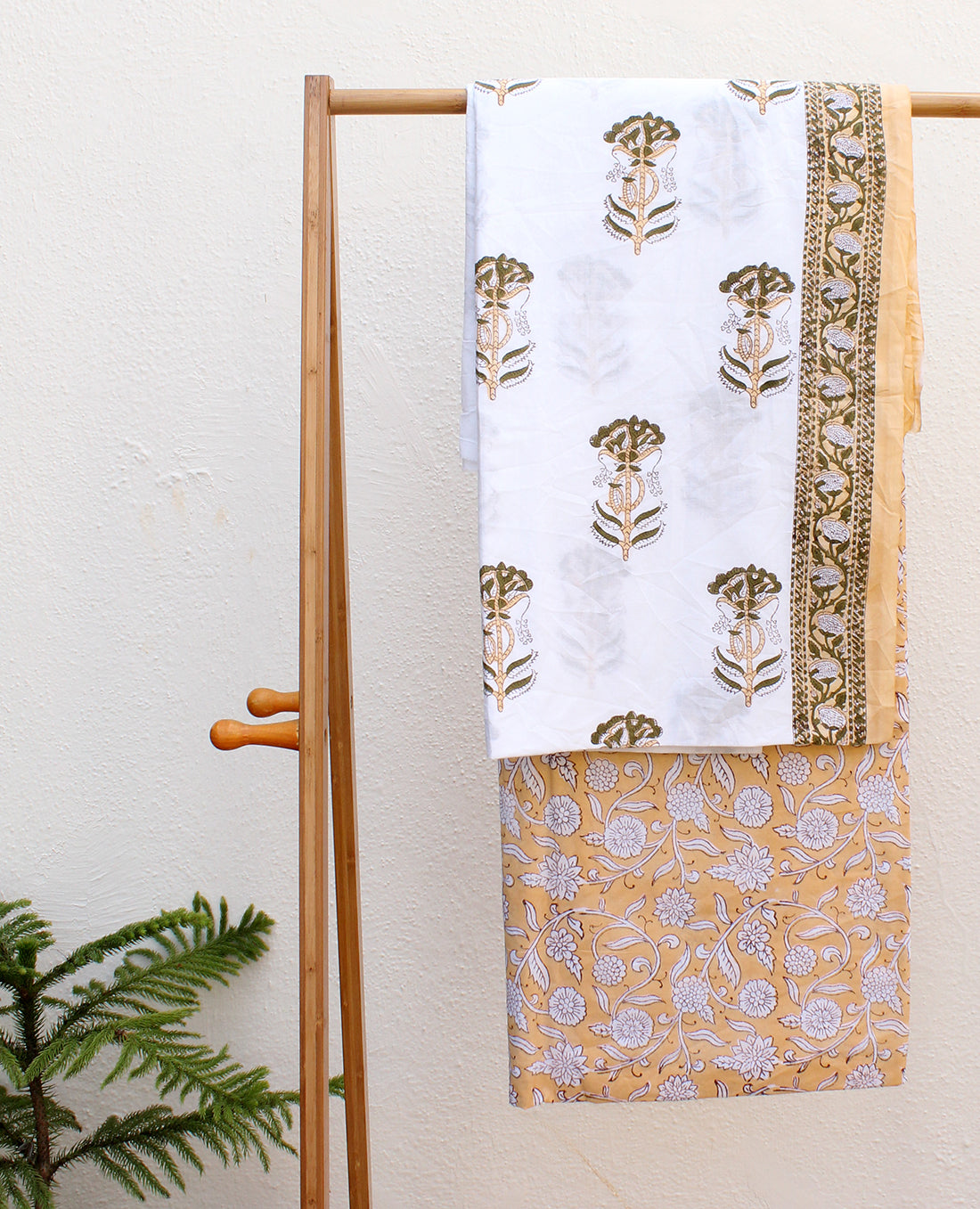 White and Mango Hand Block Printed Cotton Dress Material with Kota Doria Dupatta