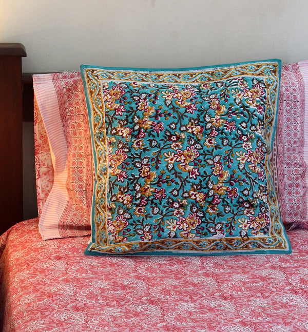 Sea Green Hand Block Printed Cushion Cover (18 inches x 18 inches)
