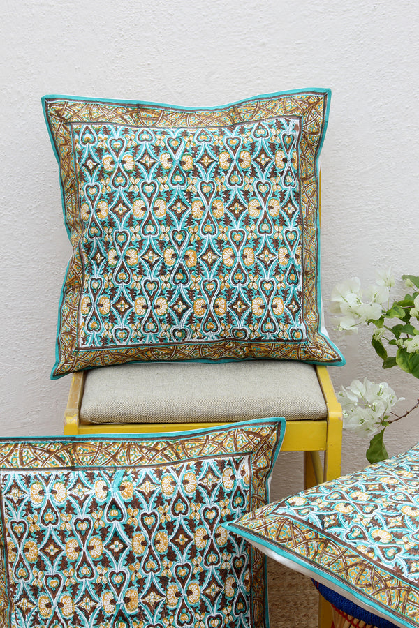 Sea Green and Brown Hand Block Printed Cushion Cover (18 inches x 18 inches)
