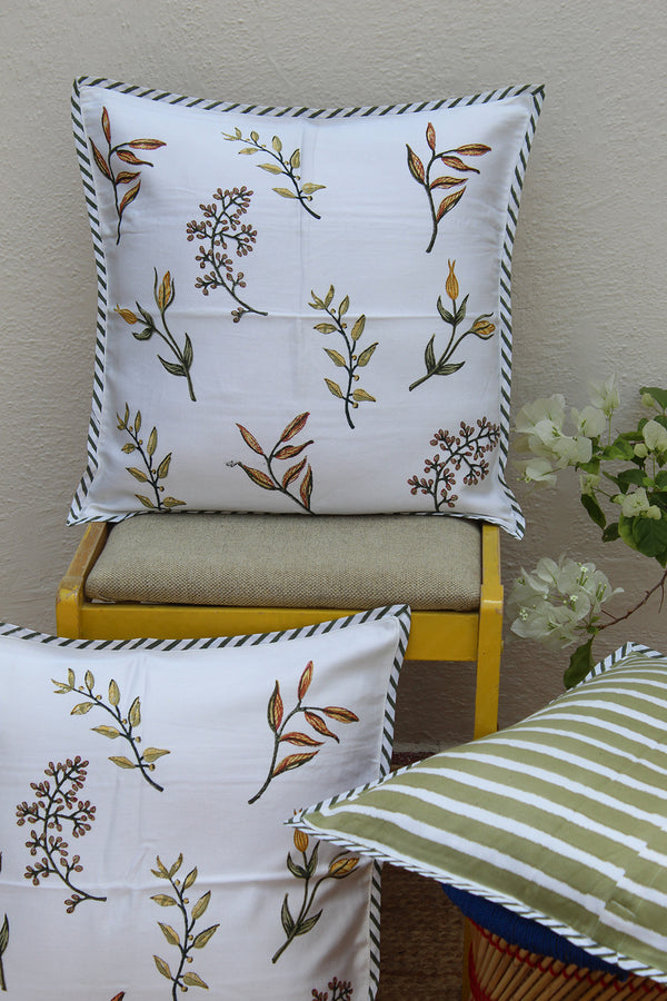 White and Green Hand Block Printed Cushion Cover (18 inches x 18 inches)