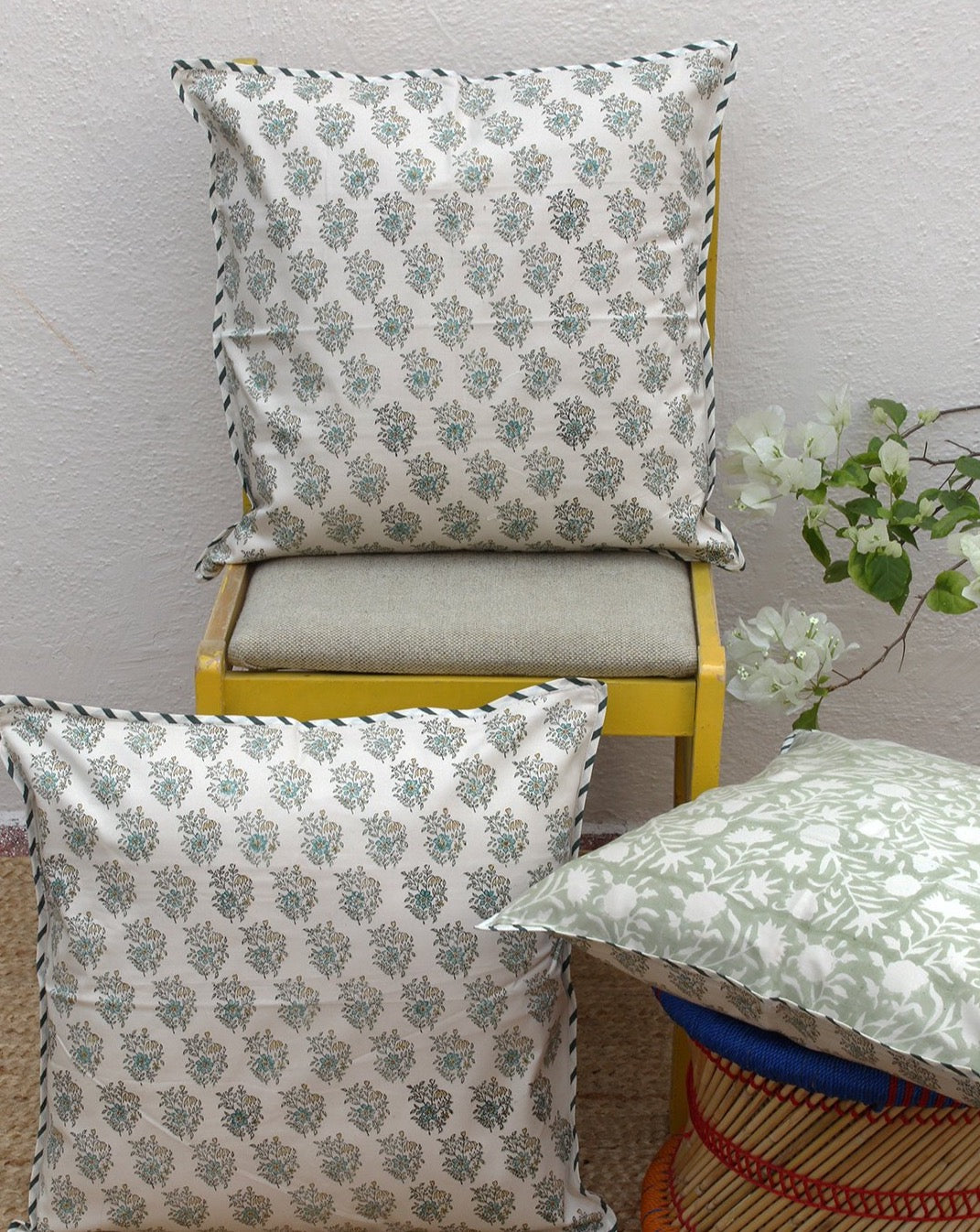 Beige Hand Block Printed Cushion Cover (18 inches x 18 inches)