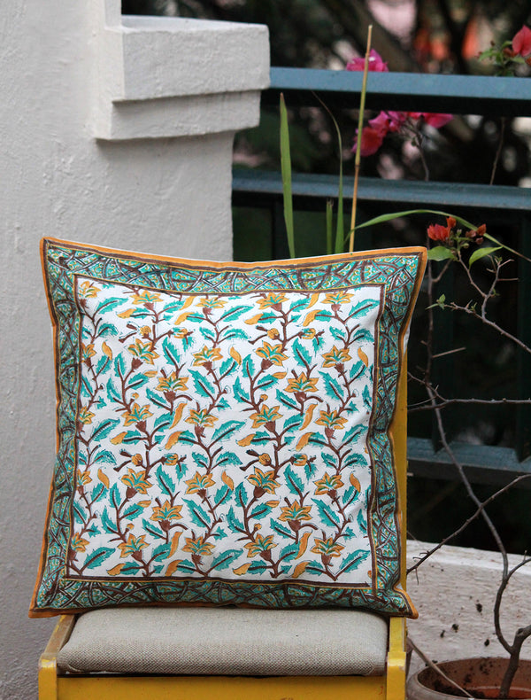 White Hand Block Printed Cushion Cover (18 inches x 18 inches)