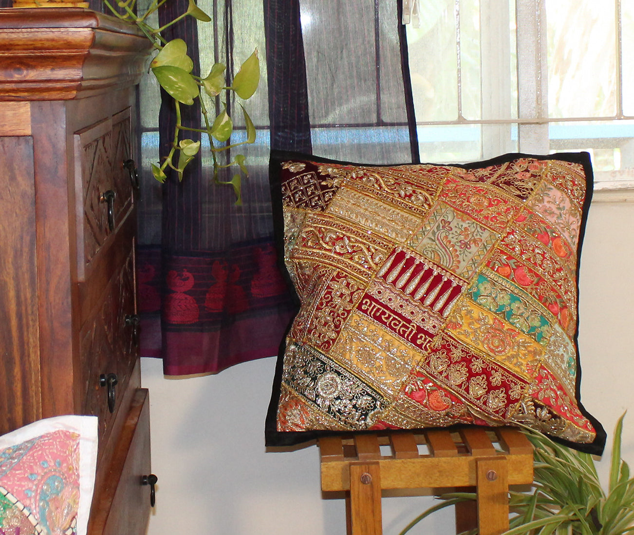 Multicoloured Embroidered Patchwork Cushion Cover