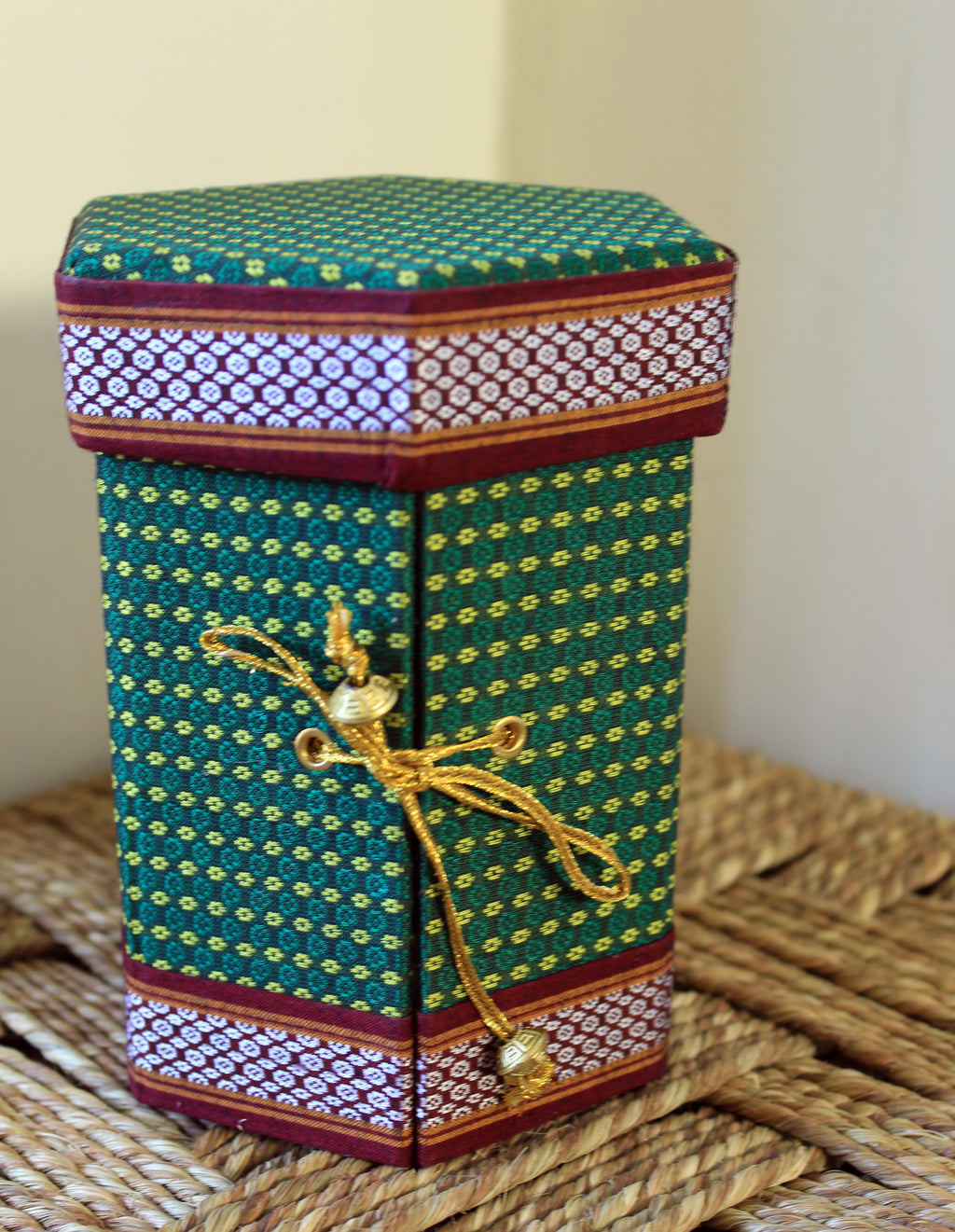 Dark Green Handmade Khun Fabric Jewellery Box