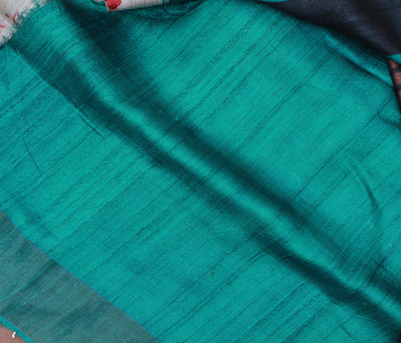 Multi-coloured Digitally Printed Tussar Silk Saree