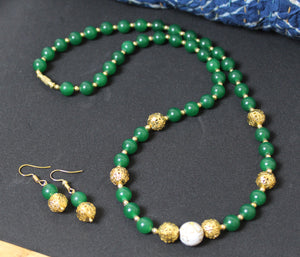 Green Mountain Beads Handmade Necklace with Golden Beads with Earrings
