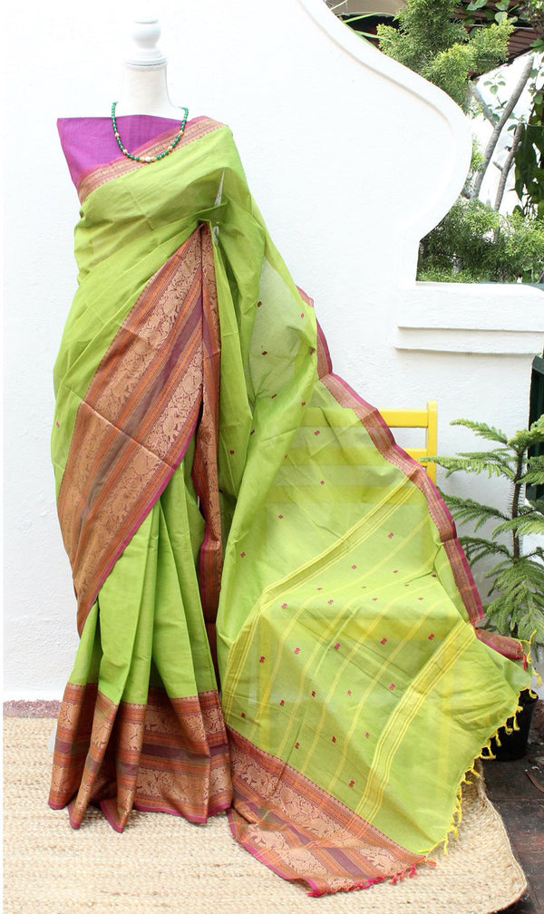 Green Dual Toned Chettinad Cotton Saree With Purple South Cotton Blouse Piece