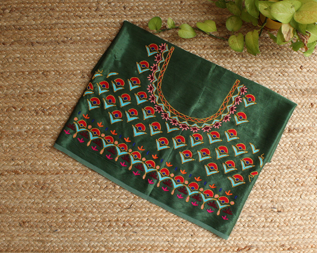 Green Mashru Silk Kutchi Hand Embroidered Blouse Piece